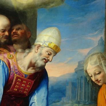 """G.Valeriano e S.Pulzone - dettaglio """"Presentazione al Tempio"""" dopo il restauro"""