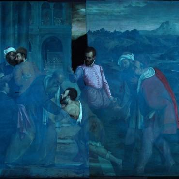 Antonio Palma - intero in fluorescenza ultravioletta durante la pulitura